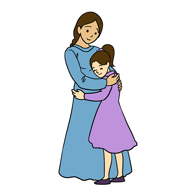 How to Draw Mother Hugging a Daughter: Step 10