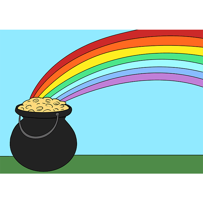 How to Draw Pot of Gold: Step 10