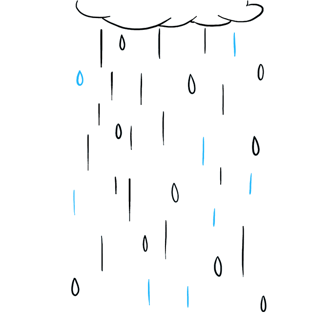 How to Draw Rain: Step 9