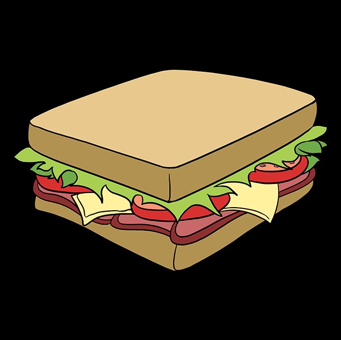How to Draw a Sandwich Step 10