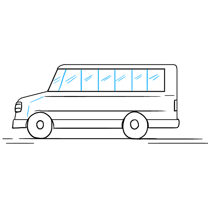 How to Draw School Bus: Step 8