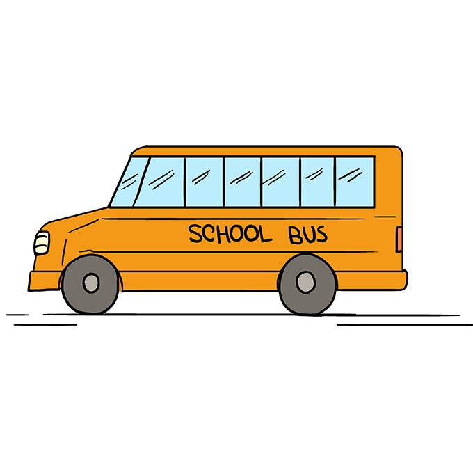 How to Draw School Bus: Step 10