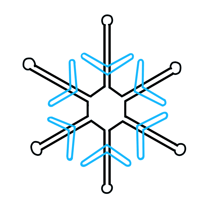 How to Draw Snowflake Step 07