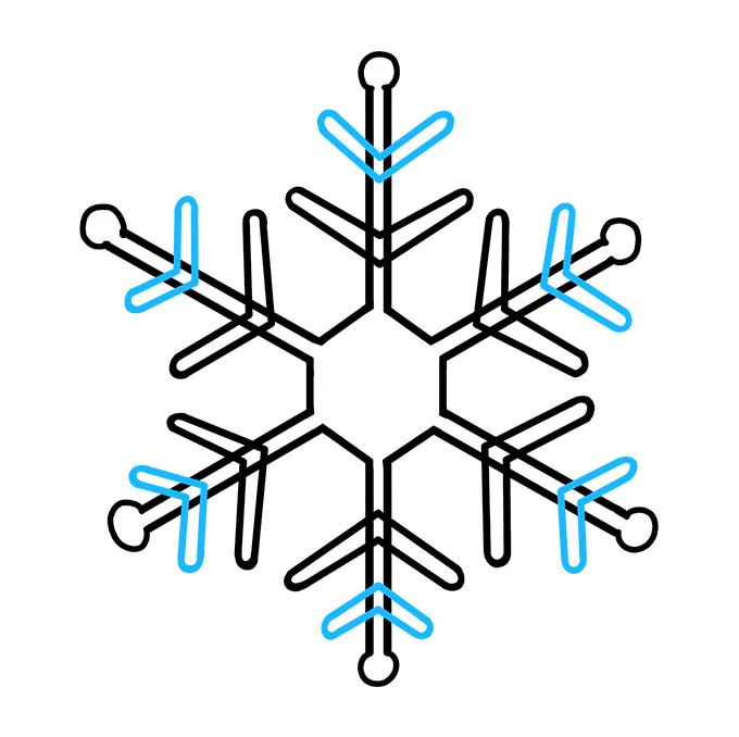How to Draw Snowflake: Step 8