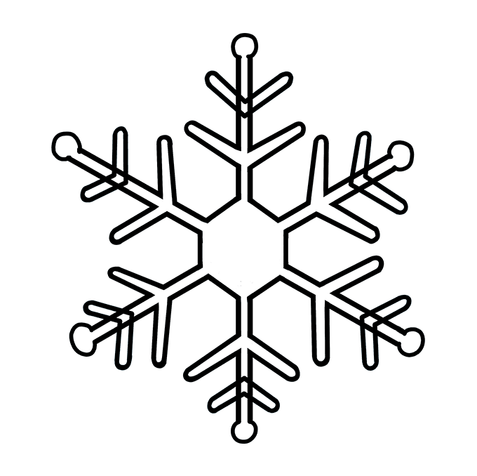How to Draw Snowflake: Step 9