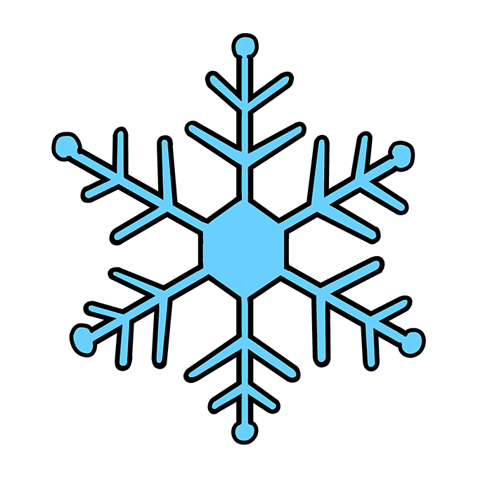 How to Draw Snowflake: Step 10
