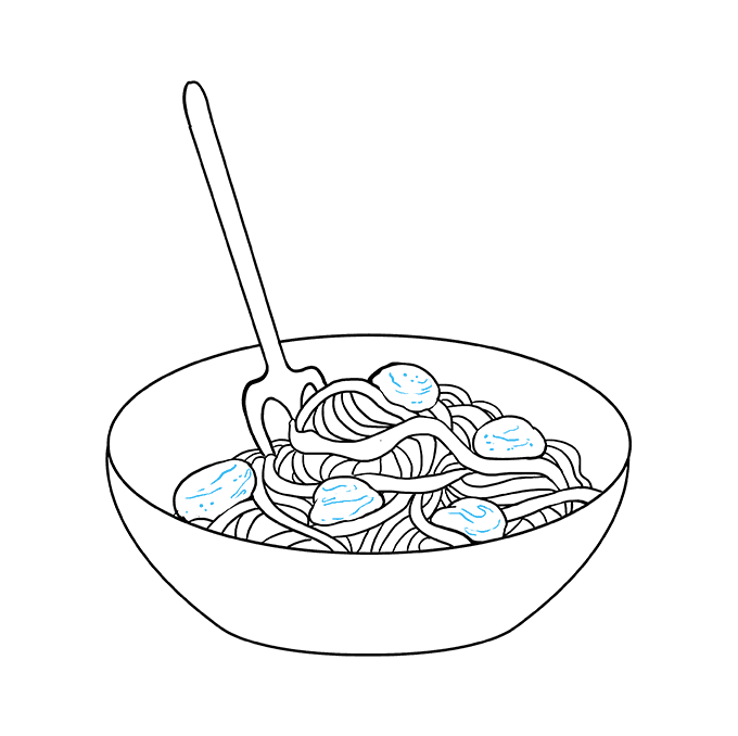 How to Draw a Spaghetti Step 09