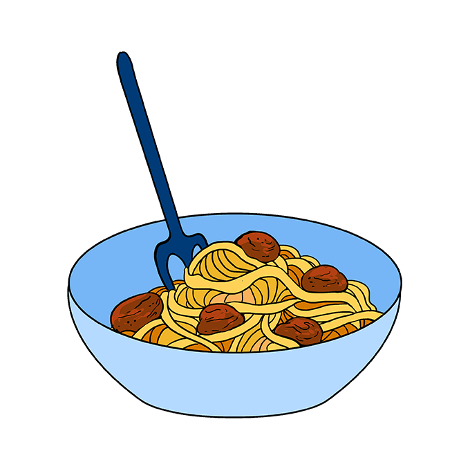 How to Draw a Spaghetti Step 10