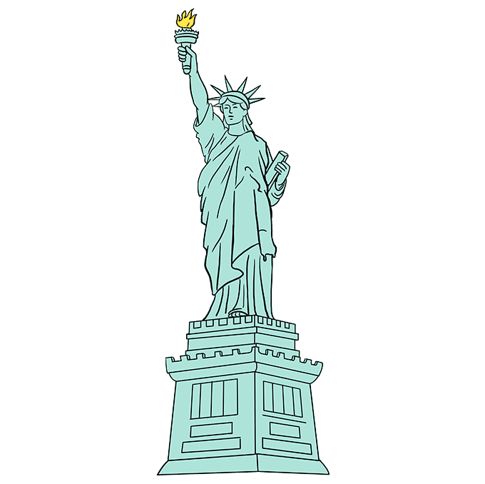 How to Draw Statue of Liberty: Step 10