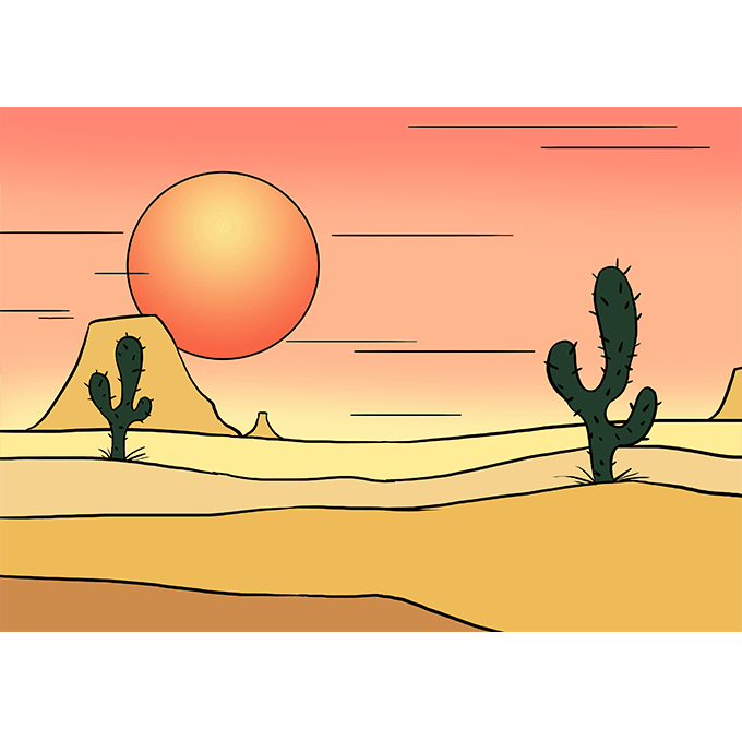 How to Draw Desert: Step 10