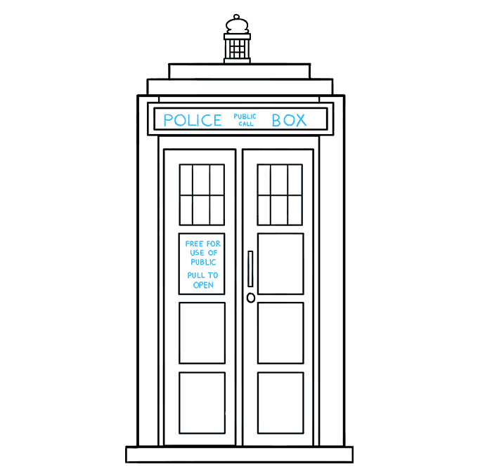 How to Draw Tardis: Step 9