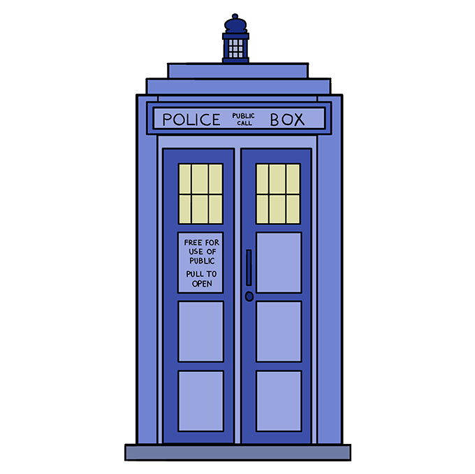 How to Draw Tardis: Step 10