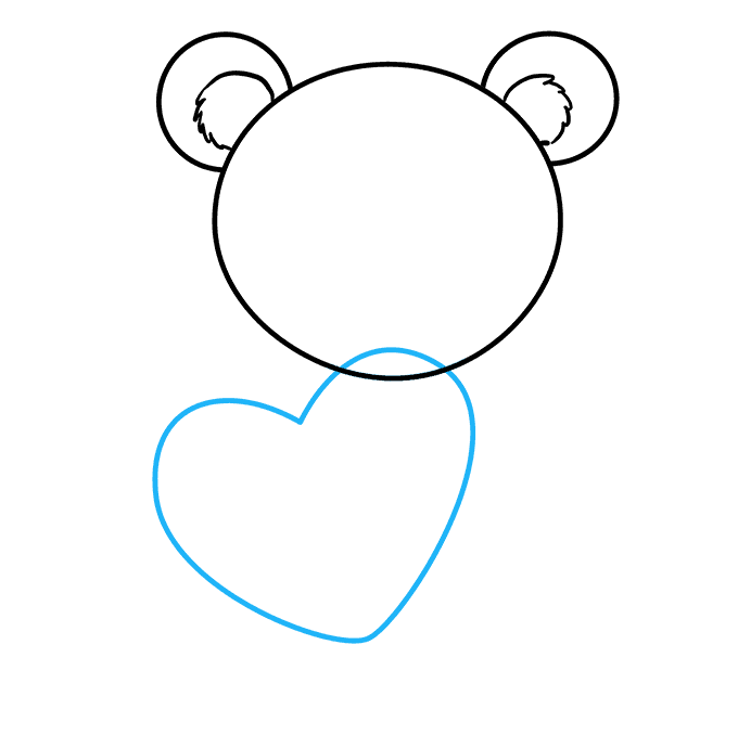 How to Draw Teddy Bear with Heart: Step 3