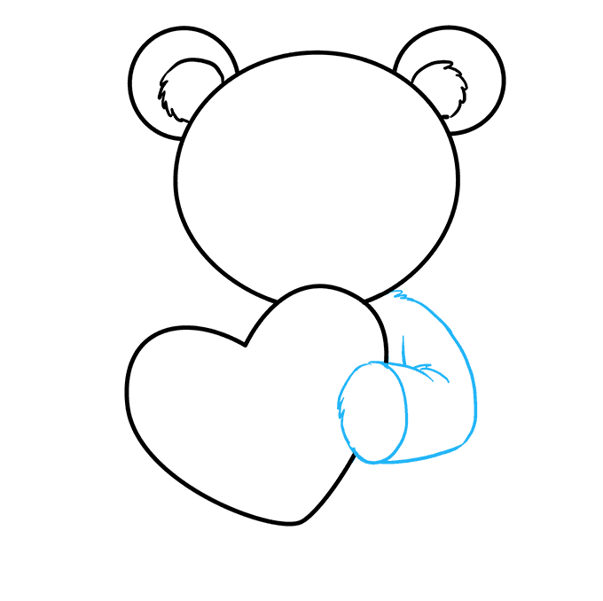 How to Draw Teddy Bear with Heart: Step 5