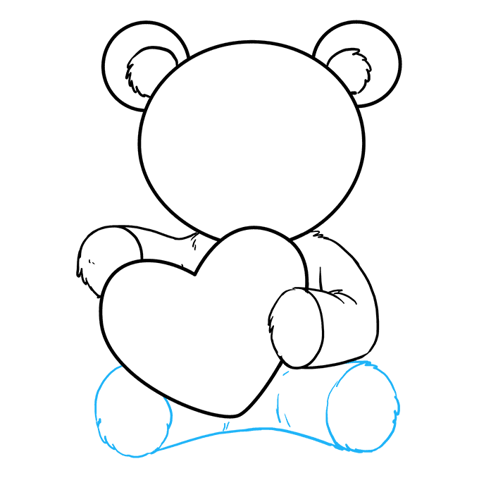 How to Draw Teddy Bear with Heart: Step 7
