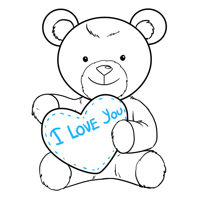 How to Draw Teddy Bear with Heart: Step 9
