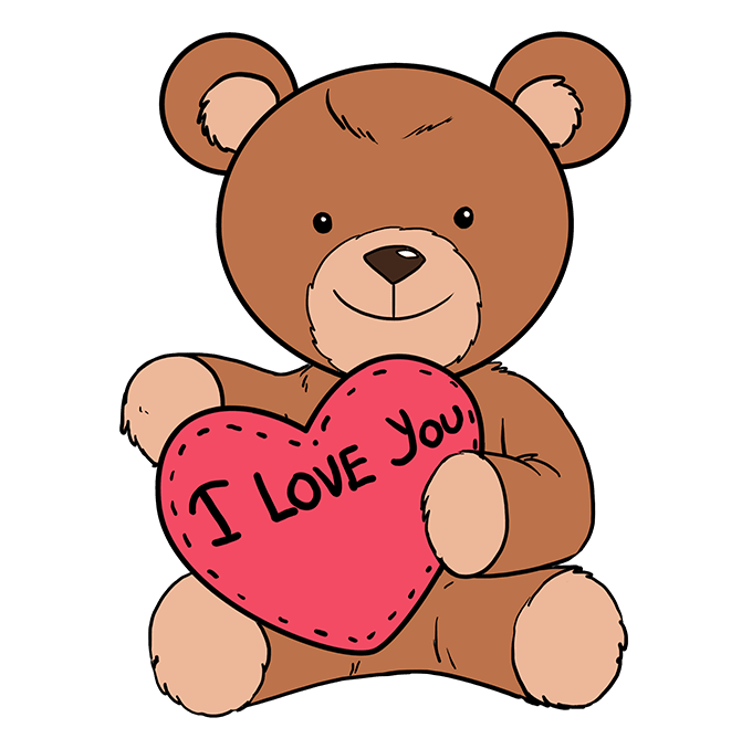 How to Draw Teddy Bear with Heart: Step 10