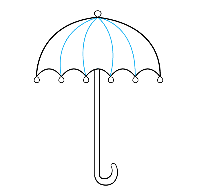 How to Draw an Umbrella Step 09