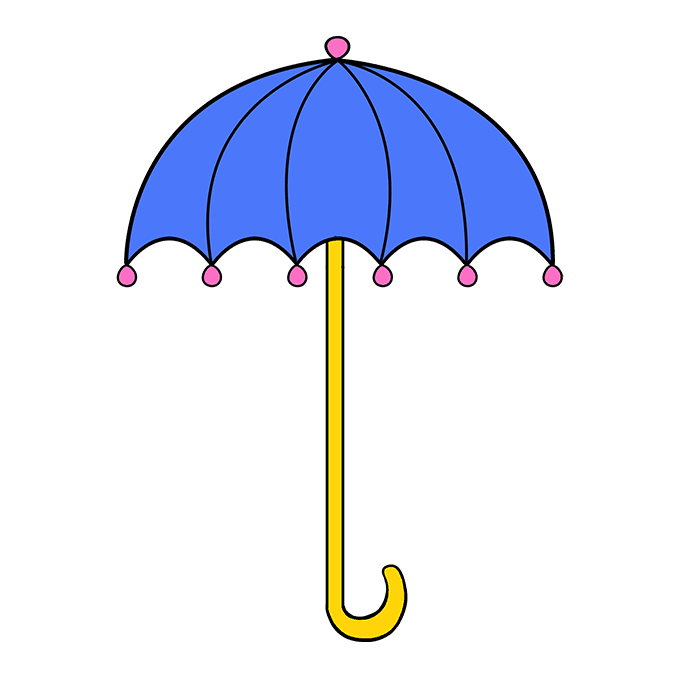 How to Draw an Umbrella Step 10