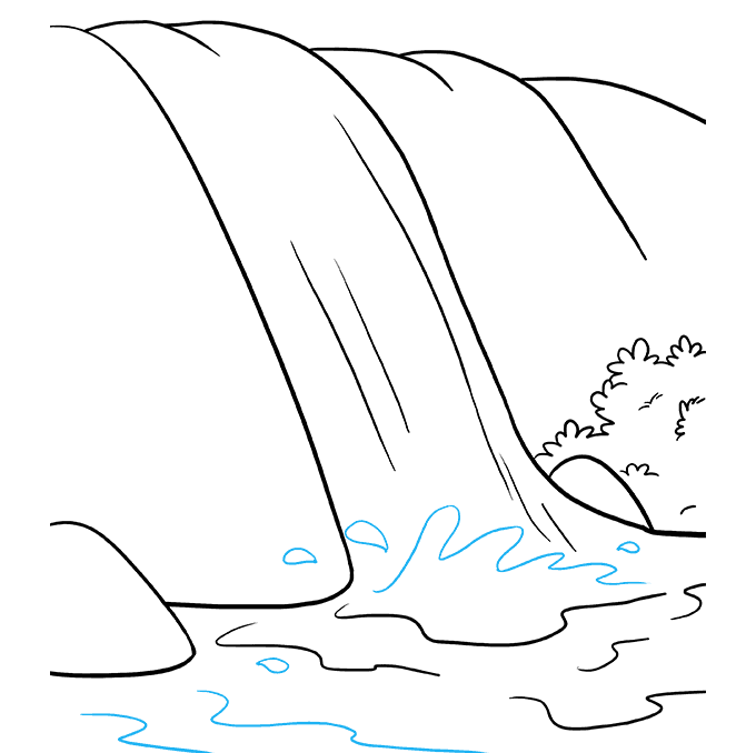 How to Draw Waterfall: Step 8