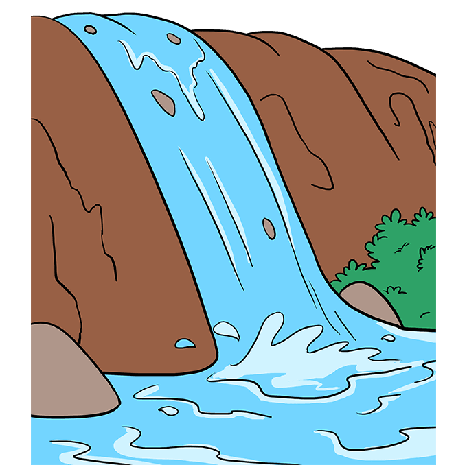How to Draw Waterfall: Step 10