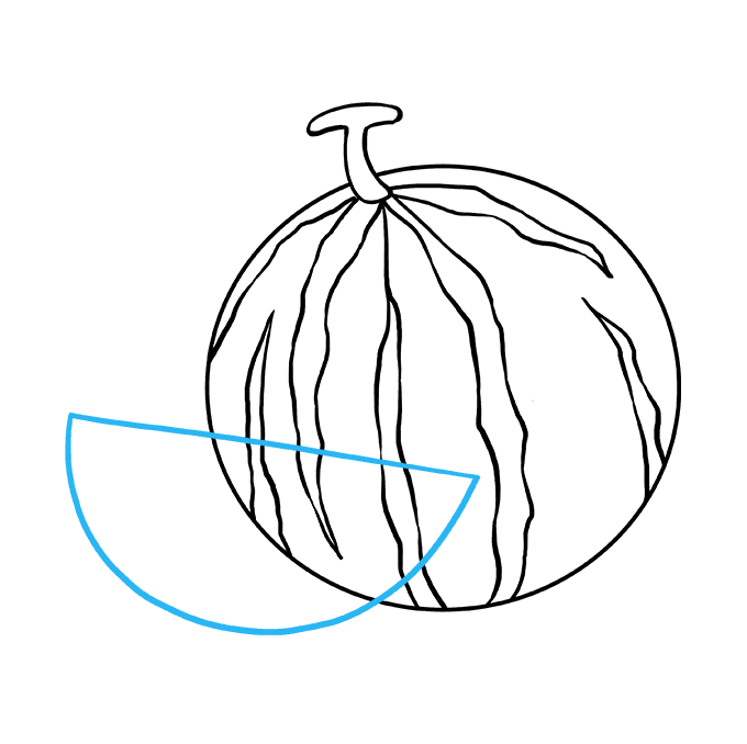 How to Draw Watermelon Slice: Step 6