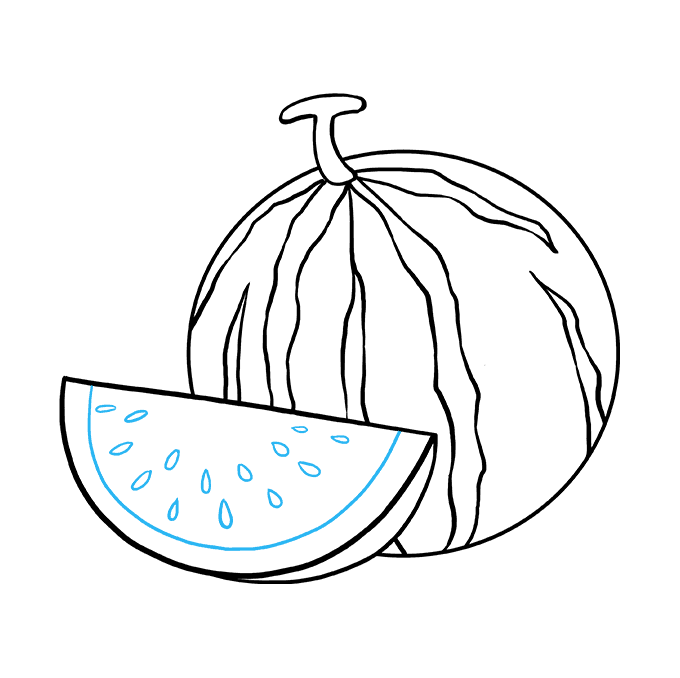 How to Draw Watermelon Slice: Step 9
