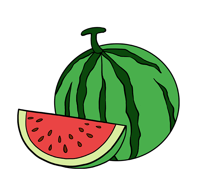 How to Draw Watermelon Slice: Step 10