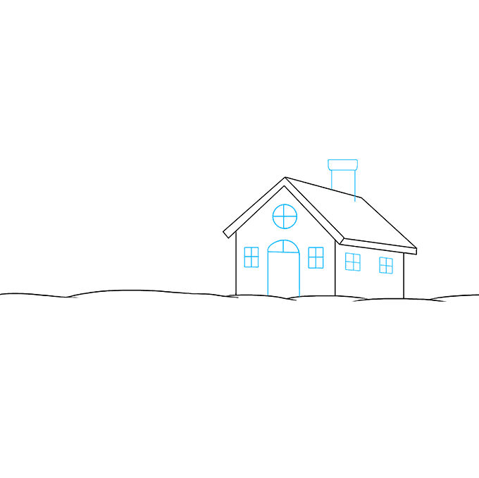 How to Draw Winter Scenery: Step 3