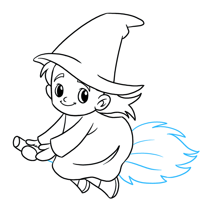 How to Draw Witch: Step 9