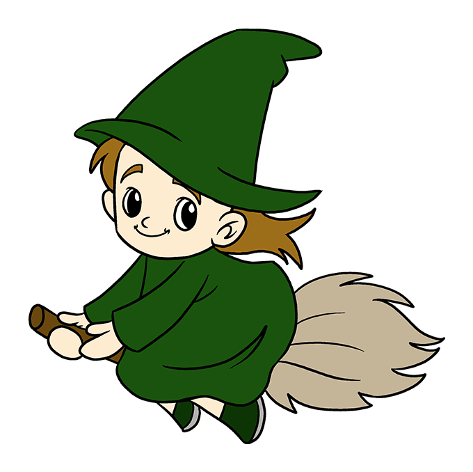 How to Draw Witch: Step 10