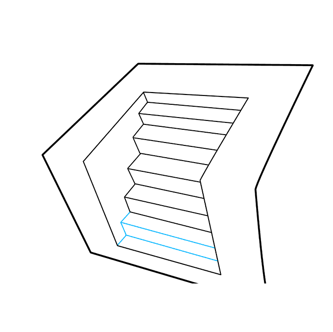 How to Draw 3D Stairs: Step 7