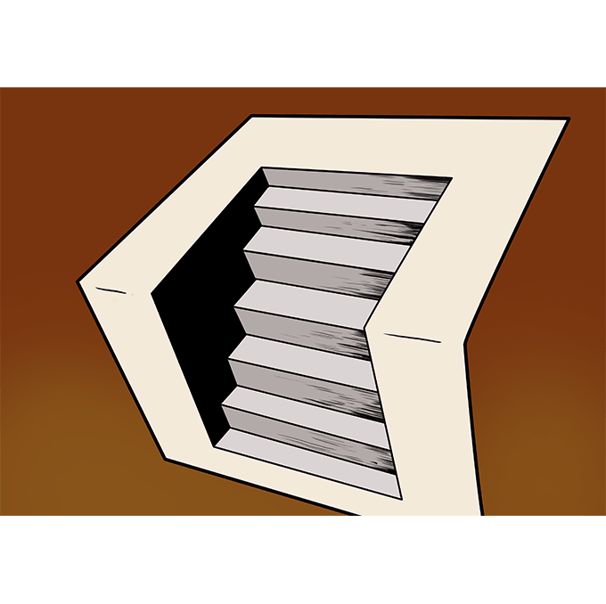 How to Draw 3D Stairs: Step 10