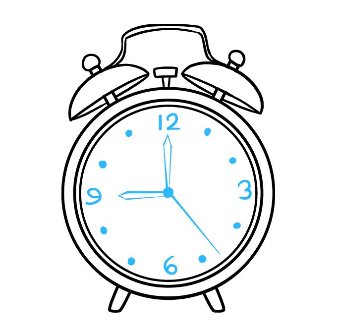 How to Draw Alarm Clock: Step 9