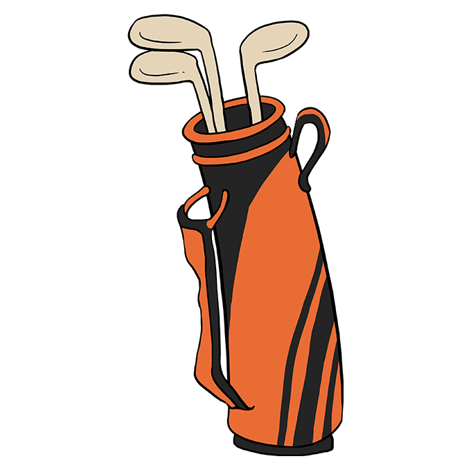How to Draw Golf Club Bag: Step 10