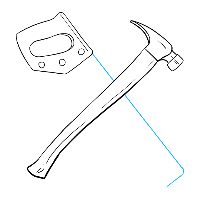 How to Draw Hammer and Saw: Step 6