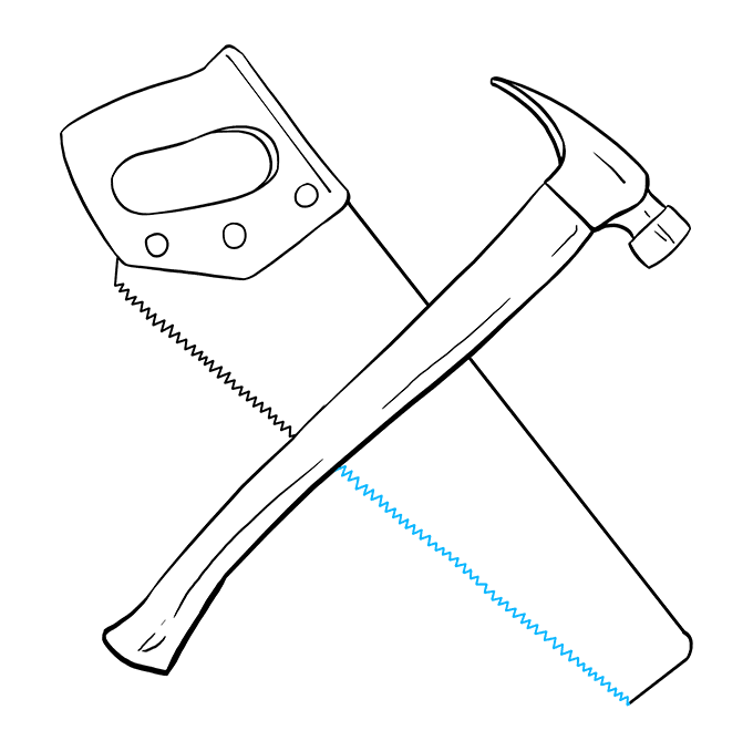 How to Draw Hammer and Saw: Step 8