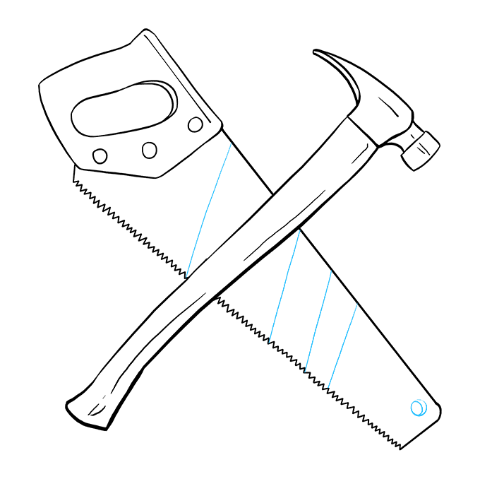 How to Draw Hammer and Saw: Step 9