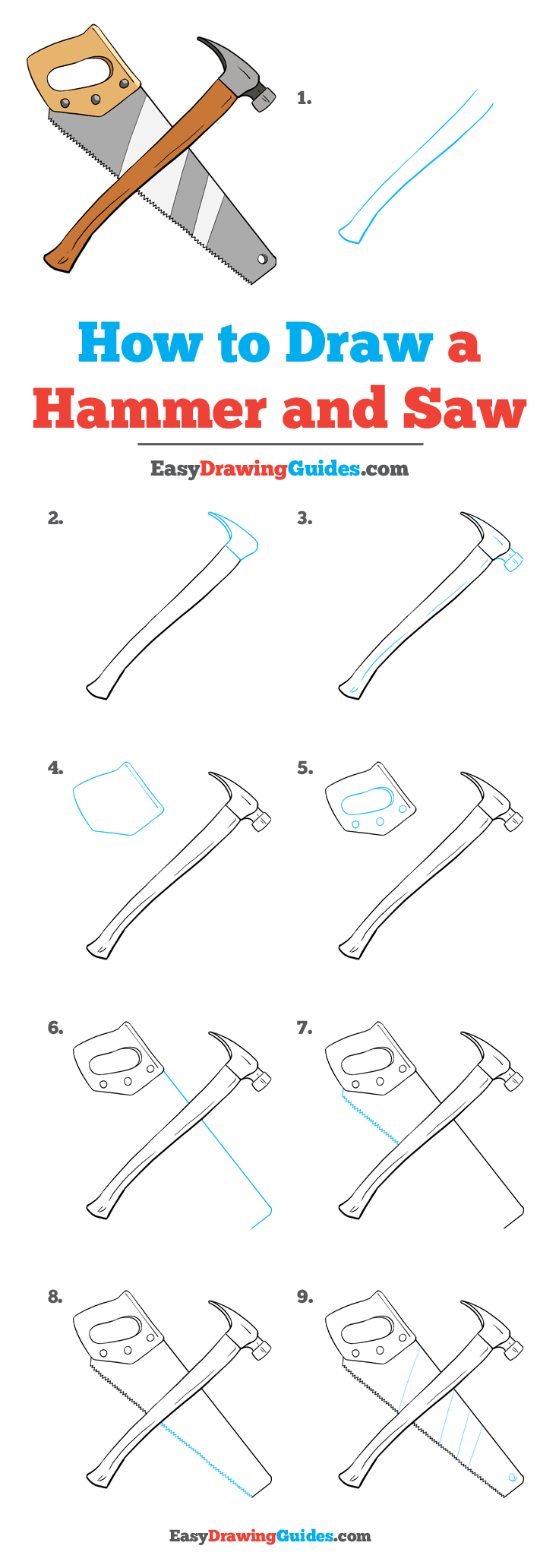 How to Draw Hammer and Saw