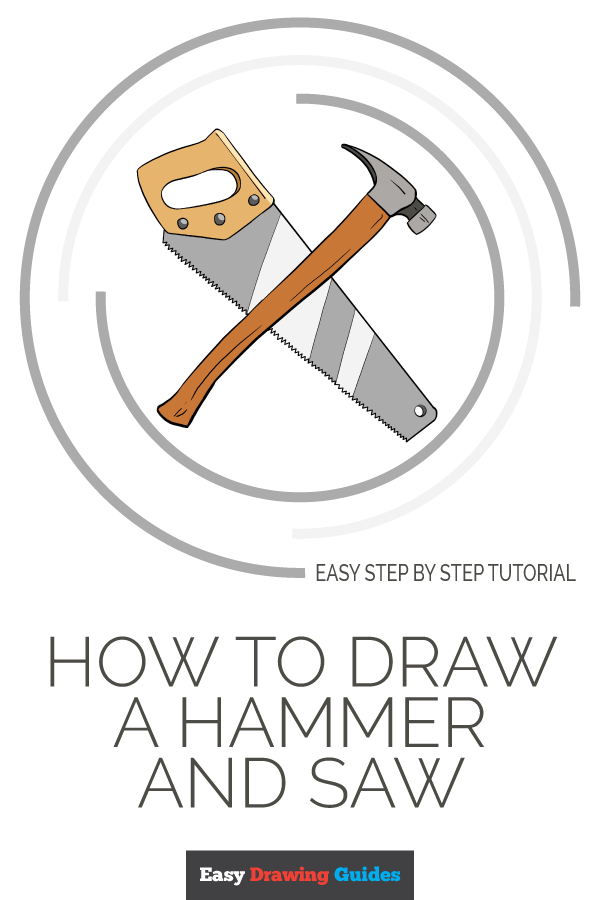 How to Draw Hammer and Saw | Share to Pinterest