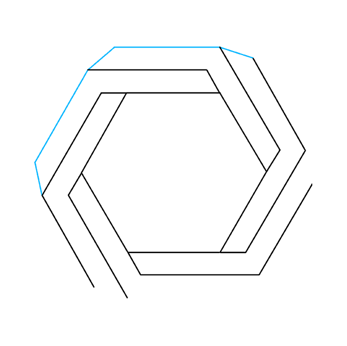 How to Draw Impossible Hexagon: Step 8