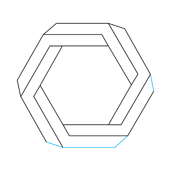 How to Draw Impossible Hexagon: Step 9