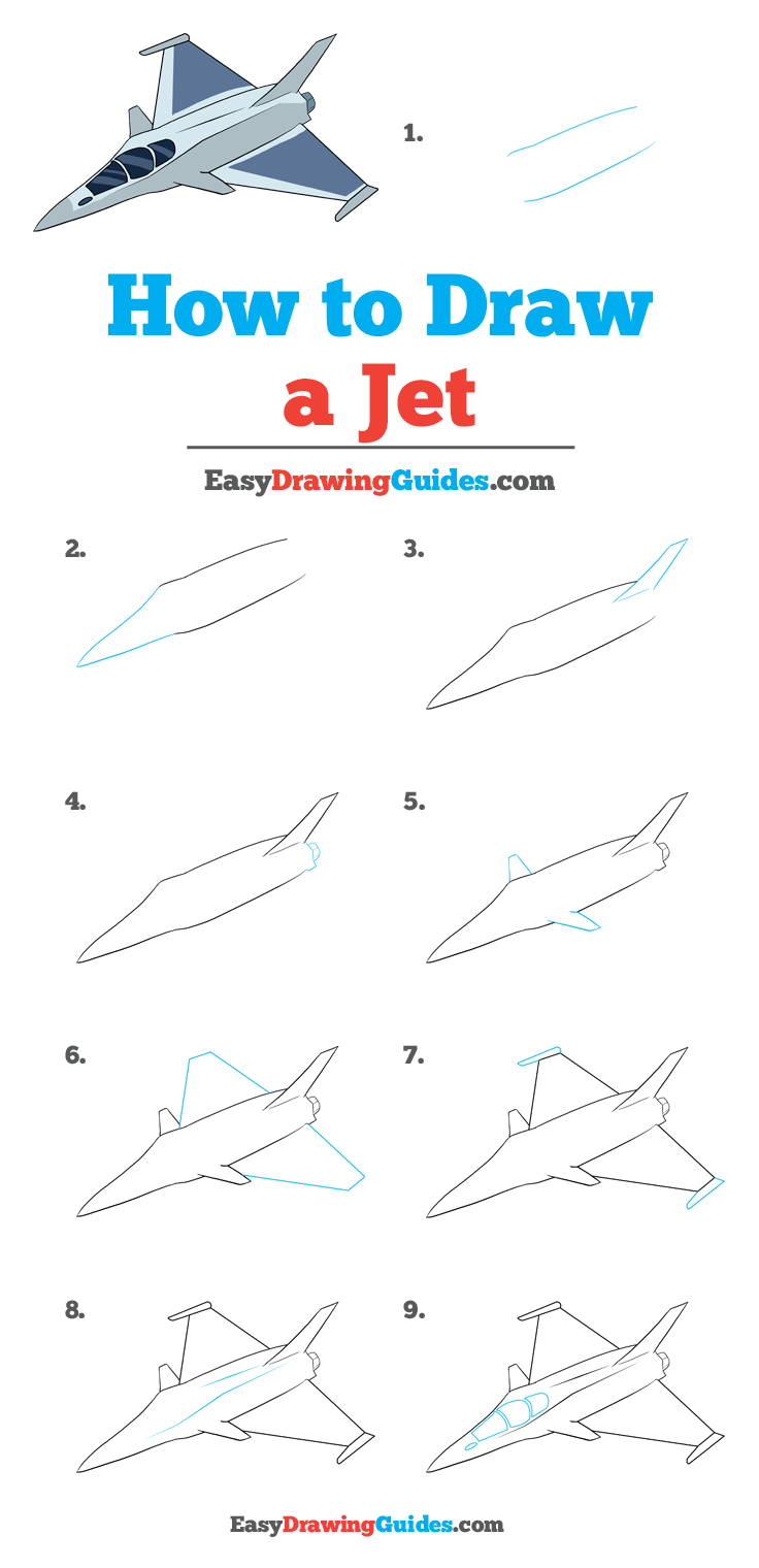 How to Draw a Jet Step by Step Tutorial Image