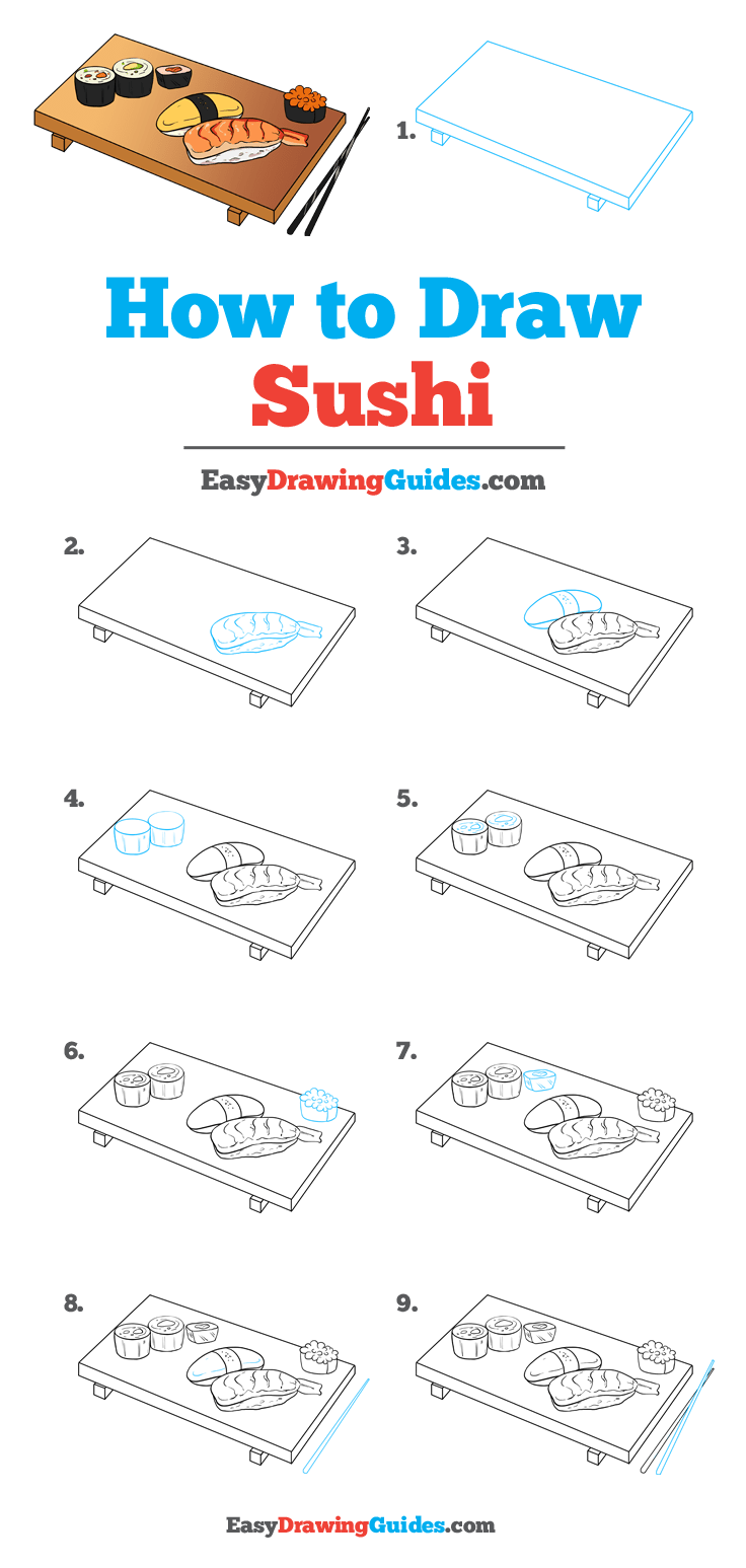 How to Draw Sushi Step by Step Tutorial