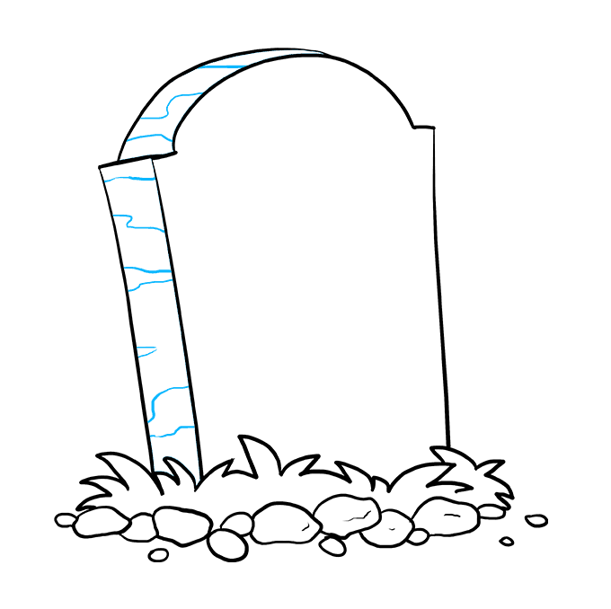 How to Draw Tombstone: Step 6