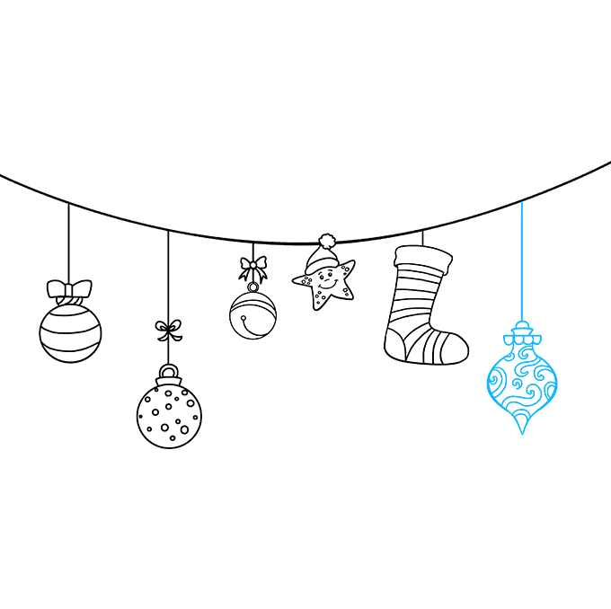 How to Draw Christmas Ornaments: Step 9