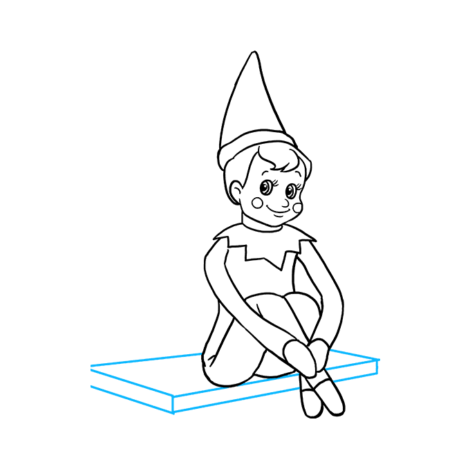 How to Draw the Elf on the Shelf Step 09