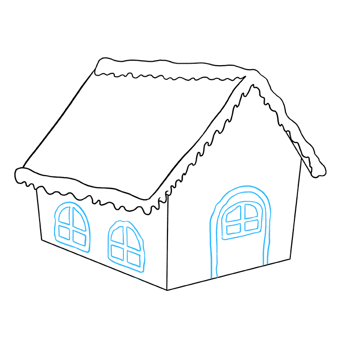How to Draw Gingerbread House: Step 7