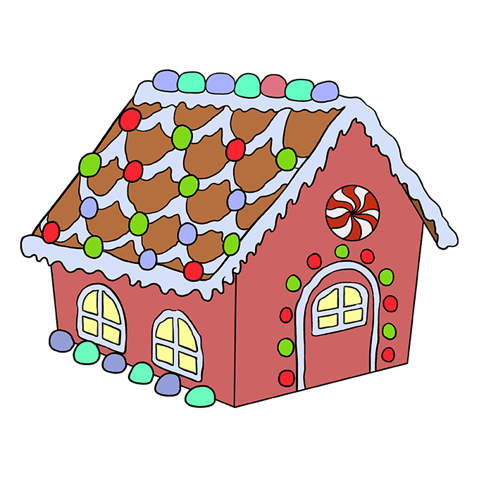 How to Draw Gingerbread House: Step 10