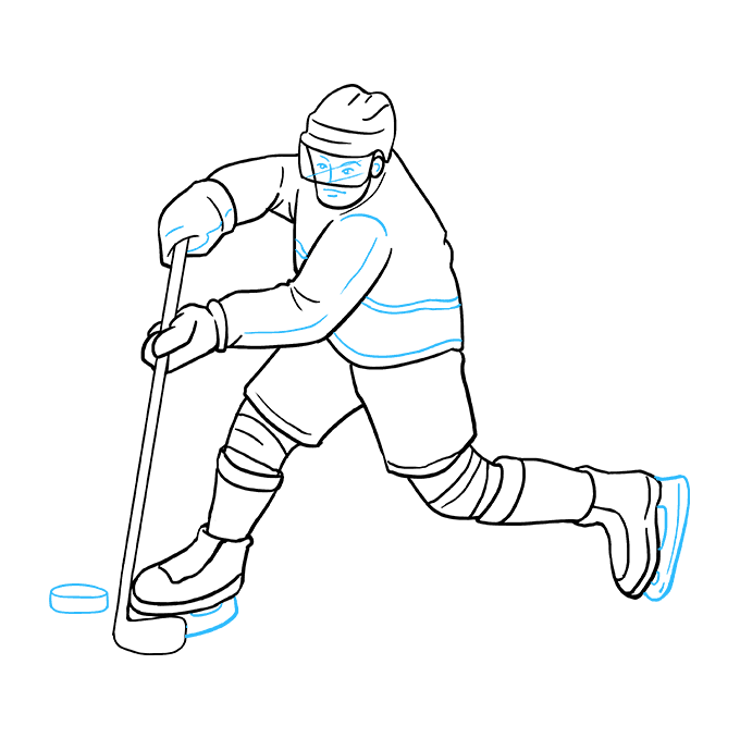 How to Draw Hockey Player: Step 9